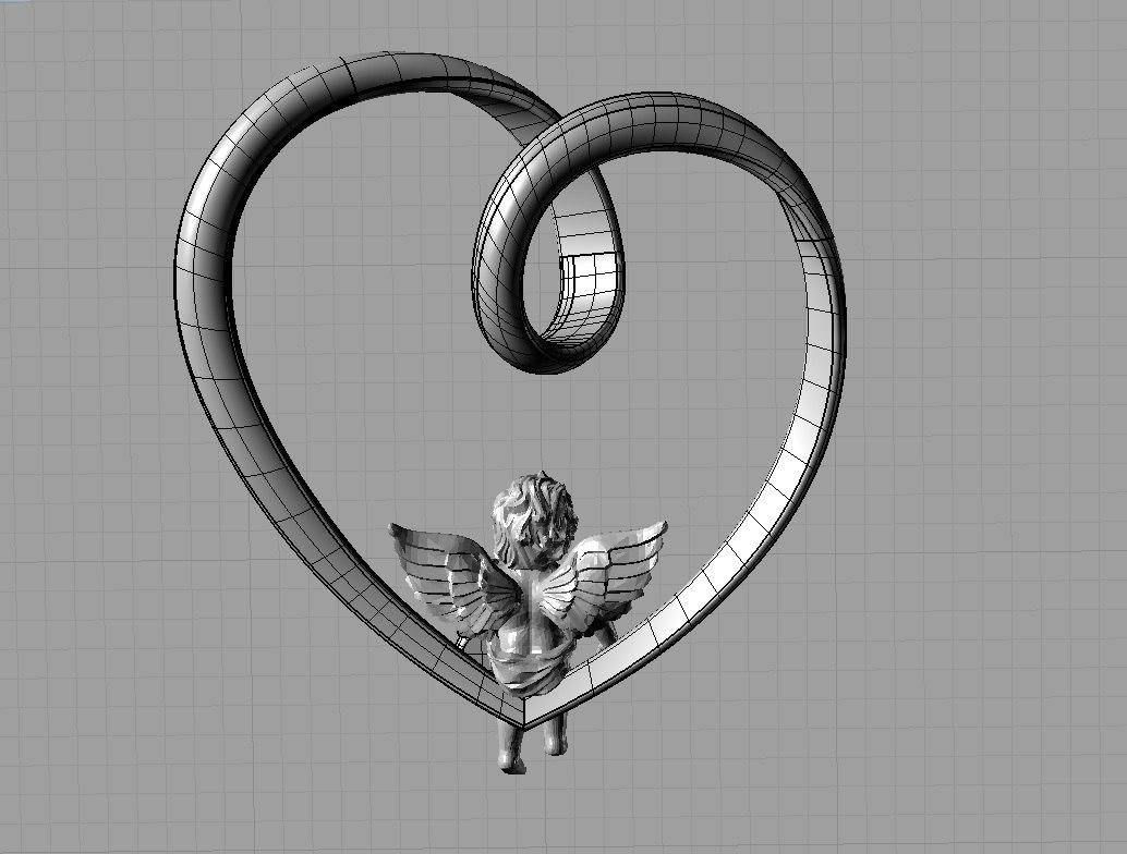 pendant heart angel 3ds
