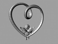 Pendant heart with angel