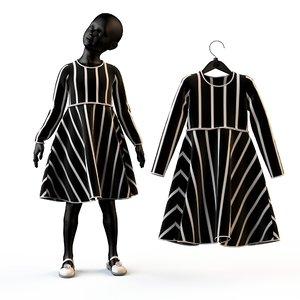 3d obj fashion baby child dressed