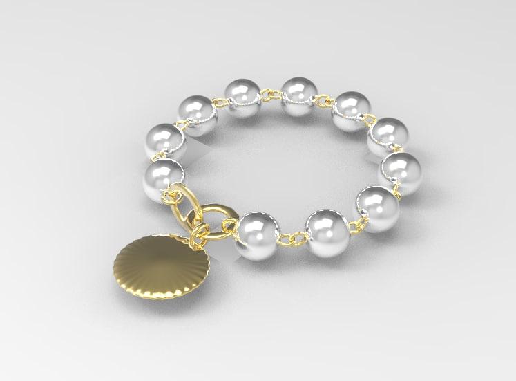 3d golden bracelet pearls