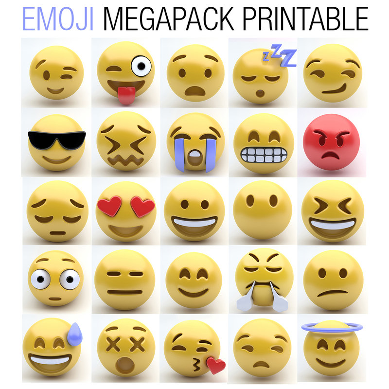 image regarding Printable Emojis Faces named EMOJI MEGAPACK PRINTABLE