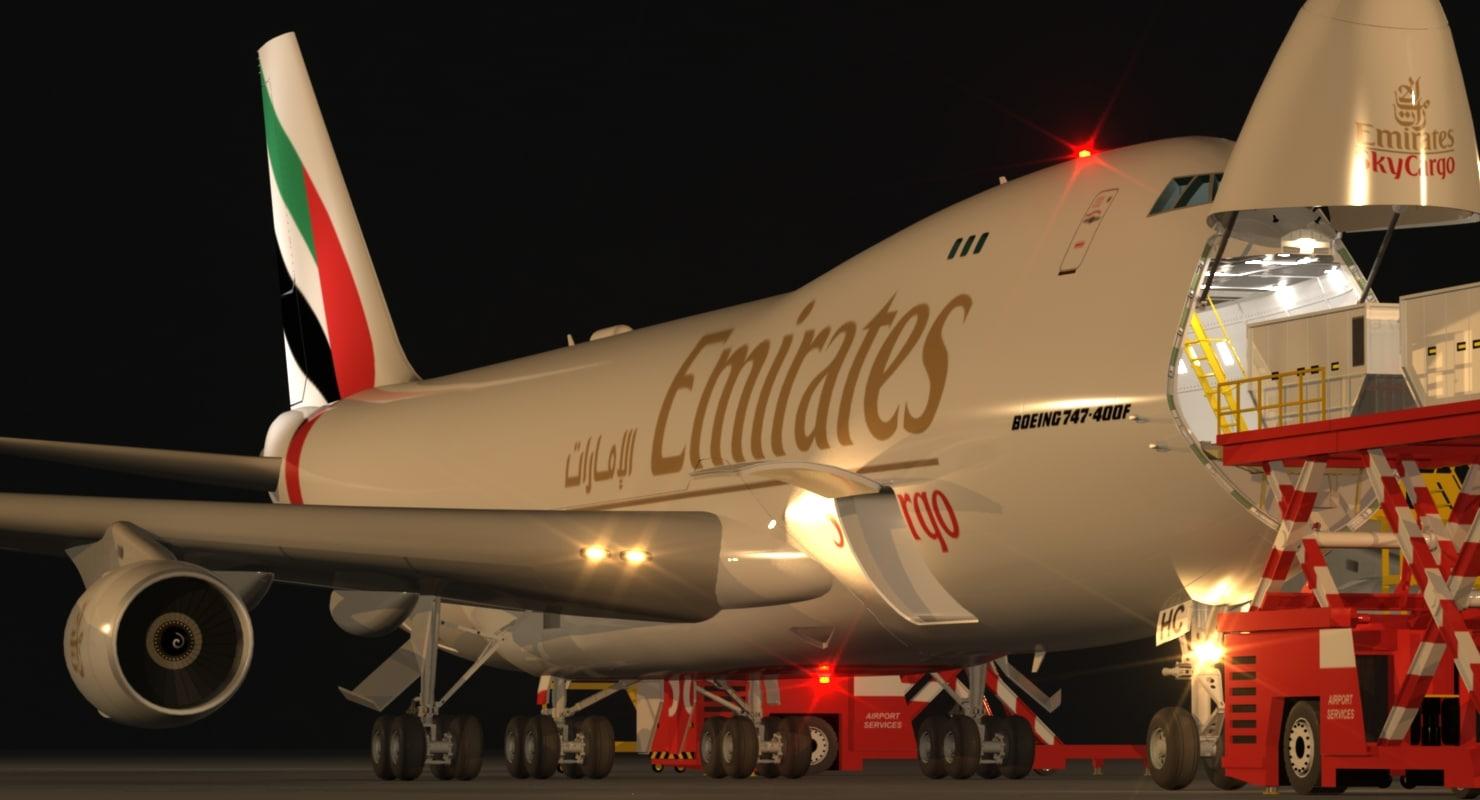 3d model scene loading operation boeing 747-400