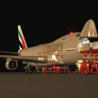 B 747-400F Emirates Loading Operation Scene