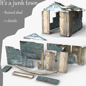ruined shed 3d 3ds