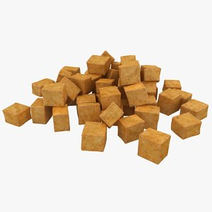 3d model realistic fried tofu 2