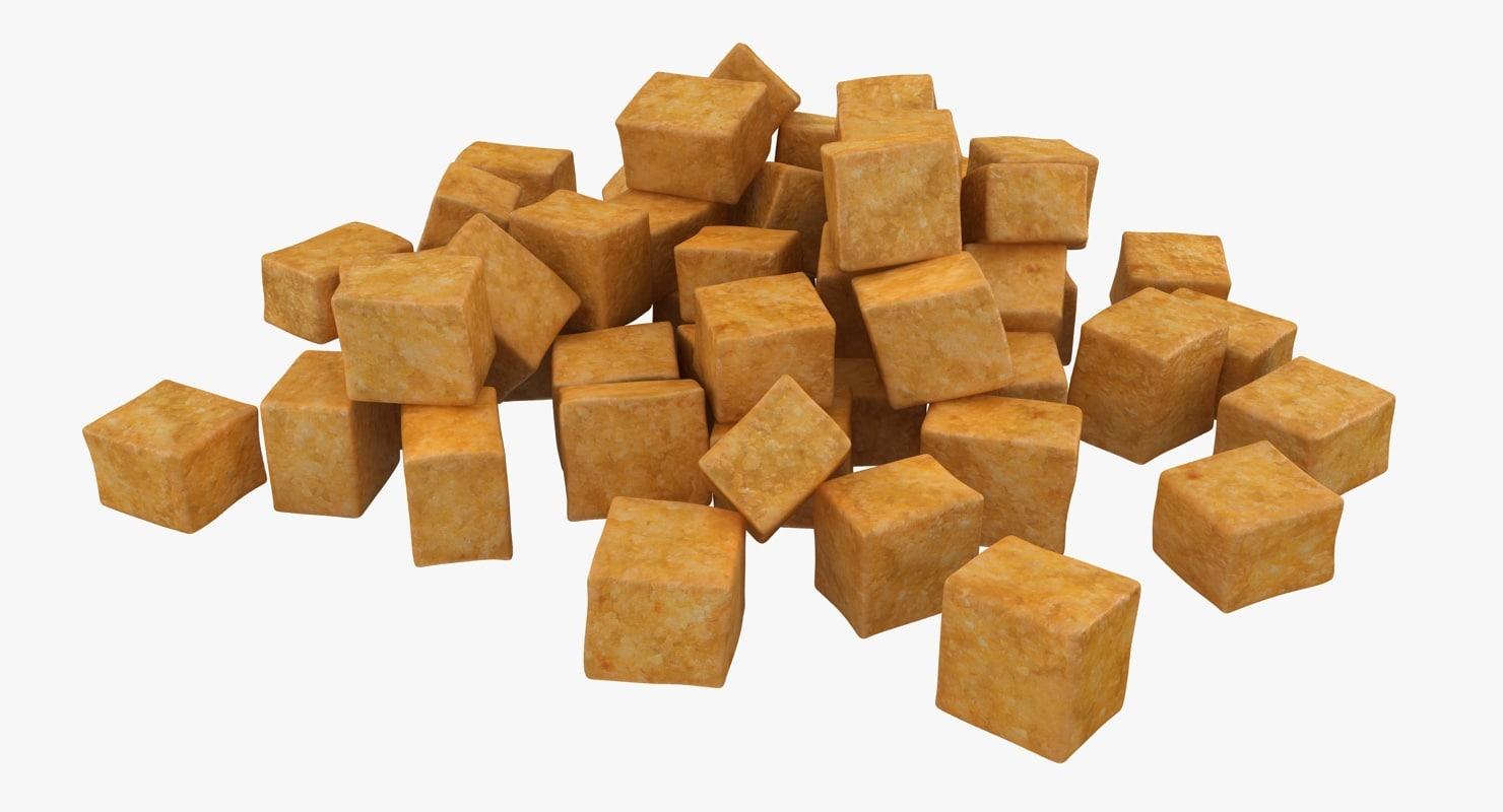 3d model realistic fried tofu 2