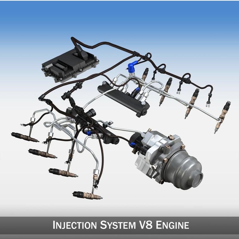 injection v8 engine 8 3d model