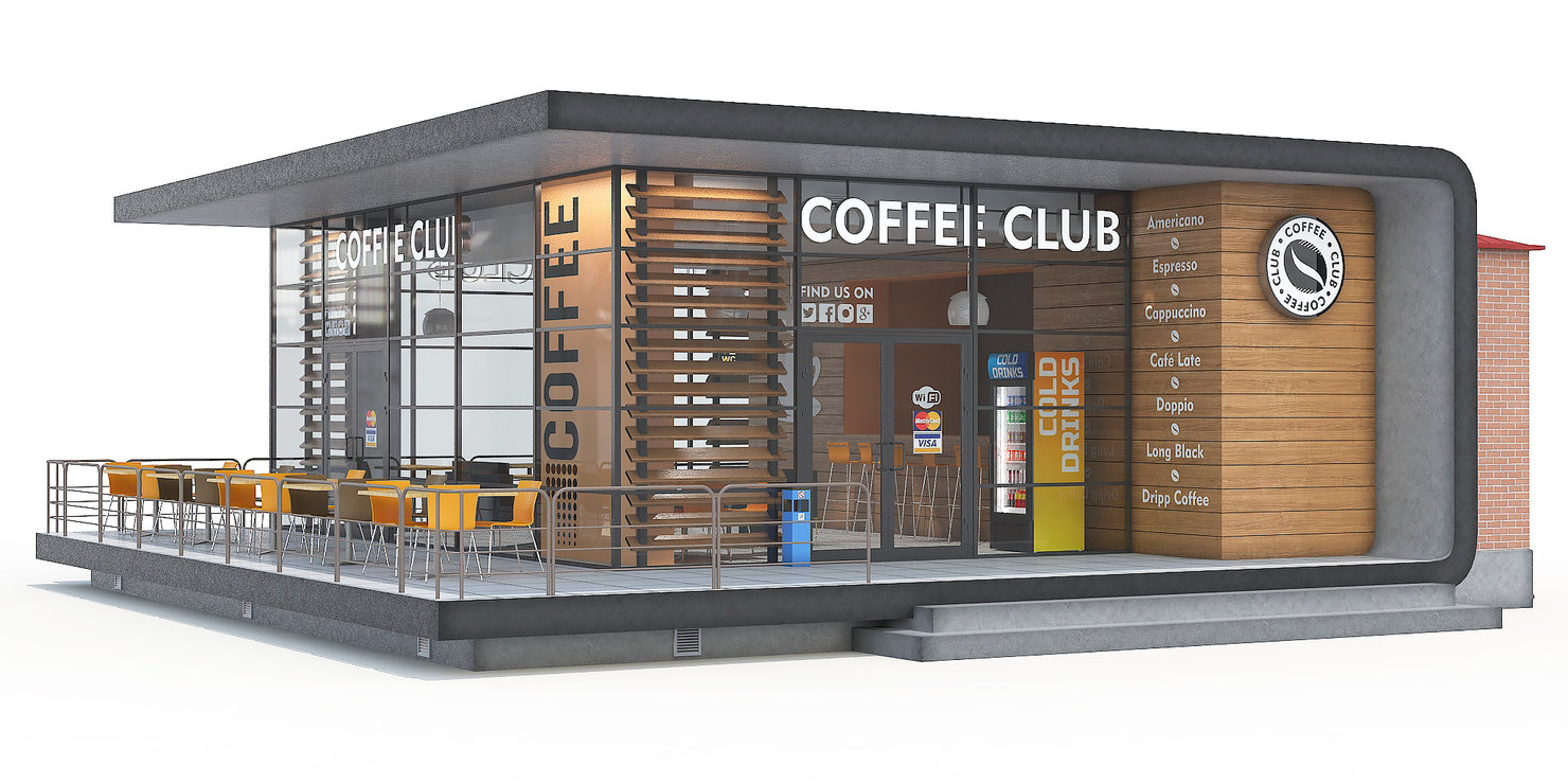 Coffee shop building 3d model for Coffee shop design software