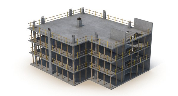construction concrete builded 3d model