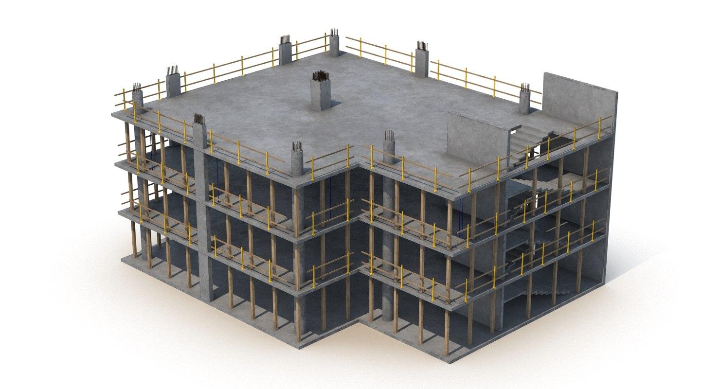 construction concrete builded 3d model