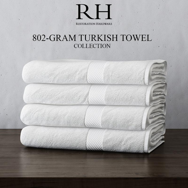 3d turkish towel collections set model