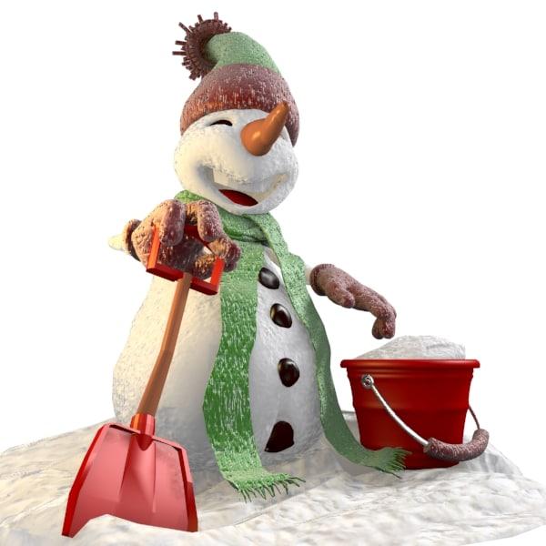 cartoon snowman 3d 3ds