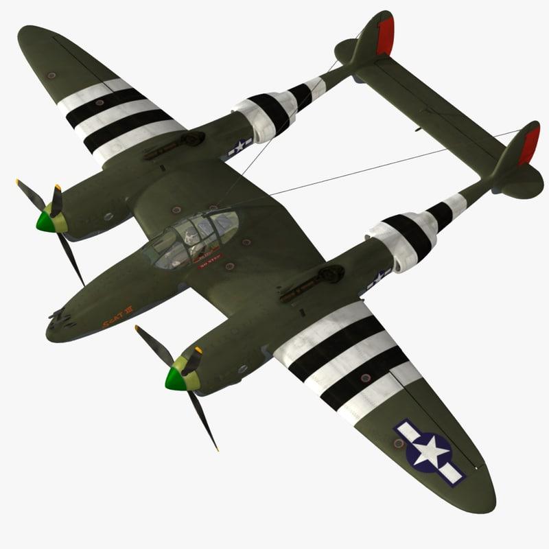 3d p-38j lightning fighter aircraft model