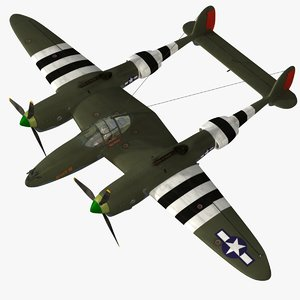 3d p-38j lightning fighter aircraft model