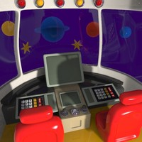 cartoon spacecraft cabin 3ds
