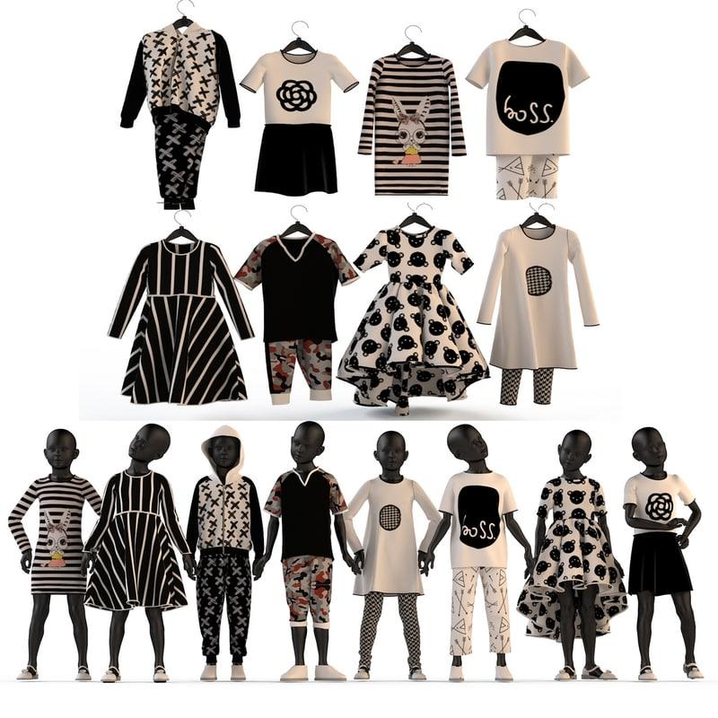 3d fashion clothing children set