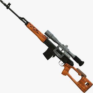 dragunov sniper rifle svd 3d max