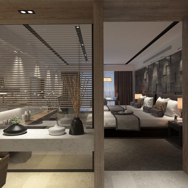 3d scene contemporary hotel suite