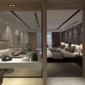 3d scene contemporary hotel suite