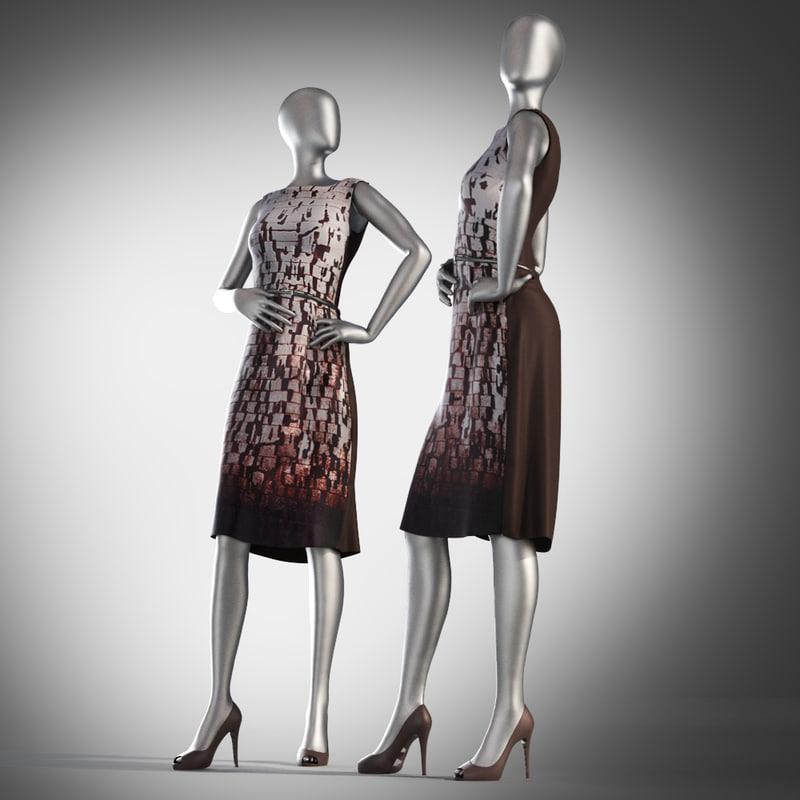 dress mannequin female 3d max