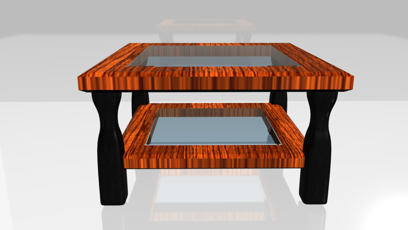 3d coffee table glass wood model