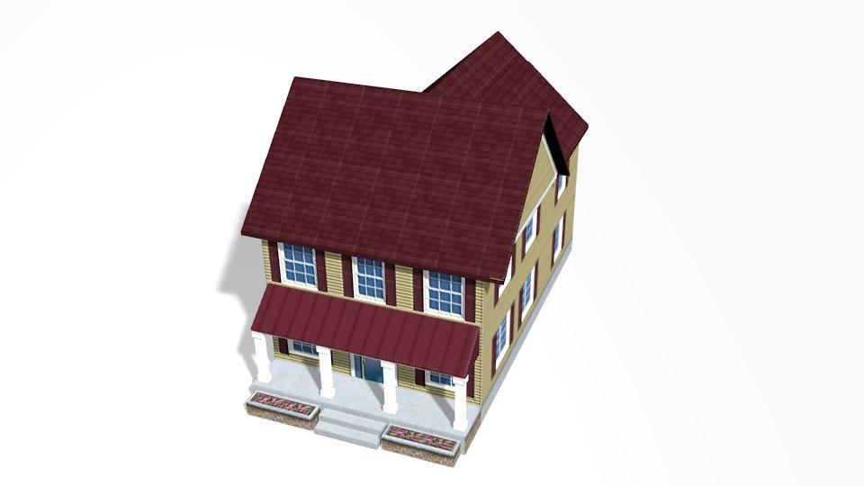 colonial house obj