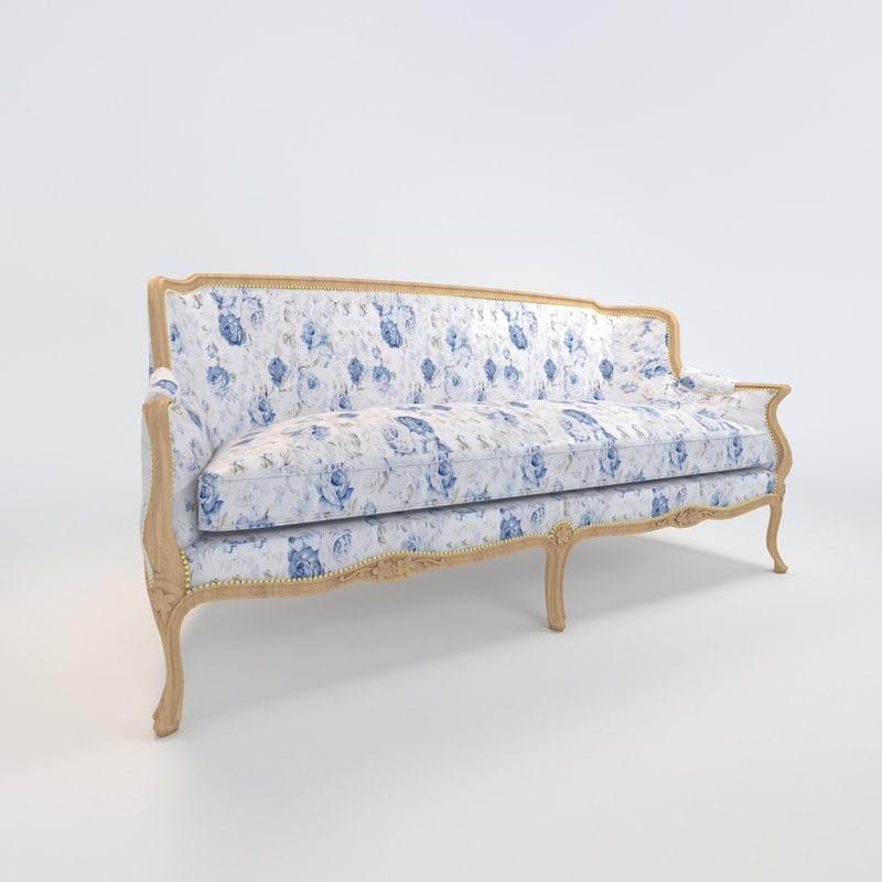 louis xv gondole sofa 3d max