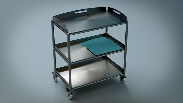 3d trolley steel medical