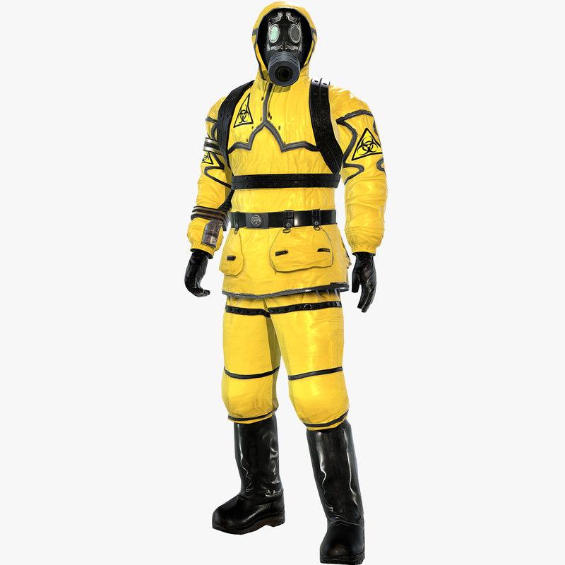 man protective hazmat suit 3d model
