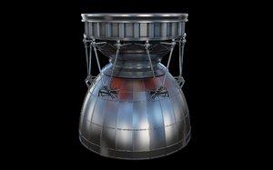 3d rocket booster engine model