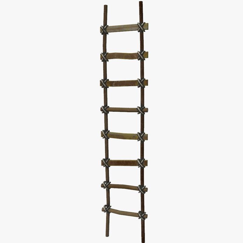 wooden ladder 3d 3ds