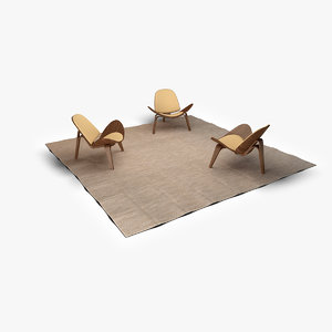 3d physical chairs carpet model