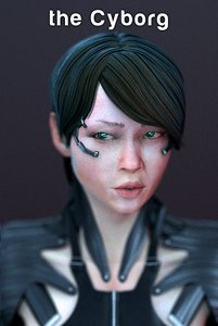 female cyborg 3d model