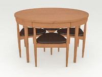 compact dining set table chairs 3d model