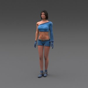 obj rigged female character