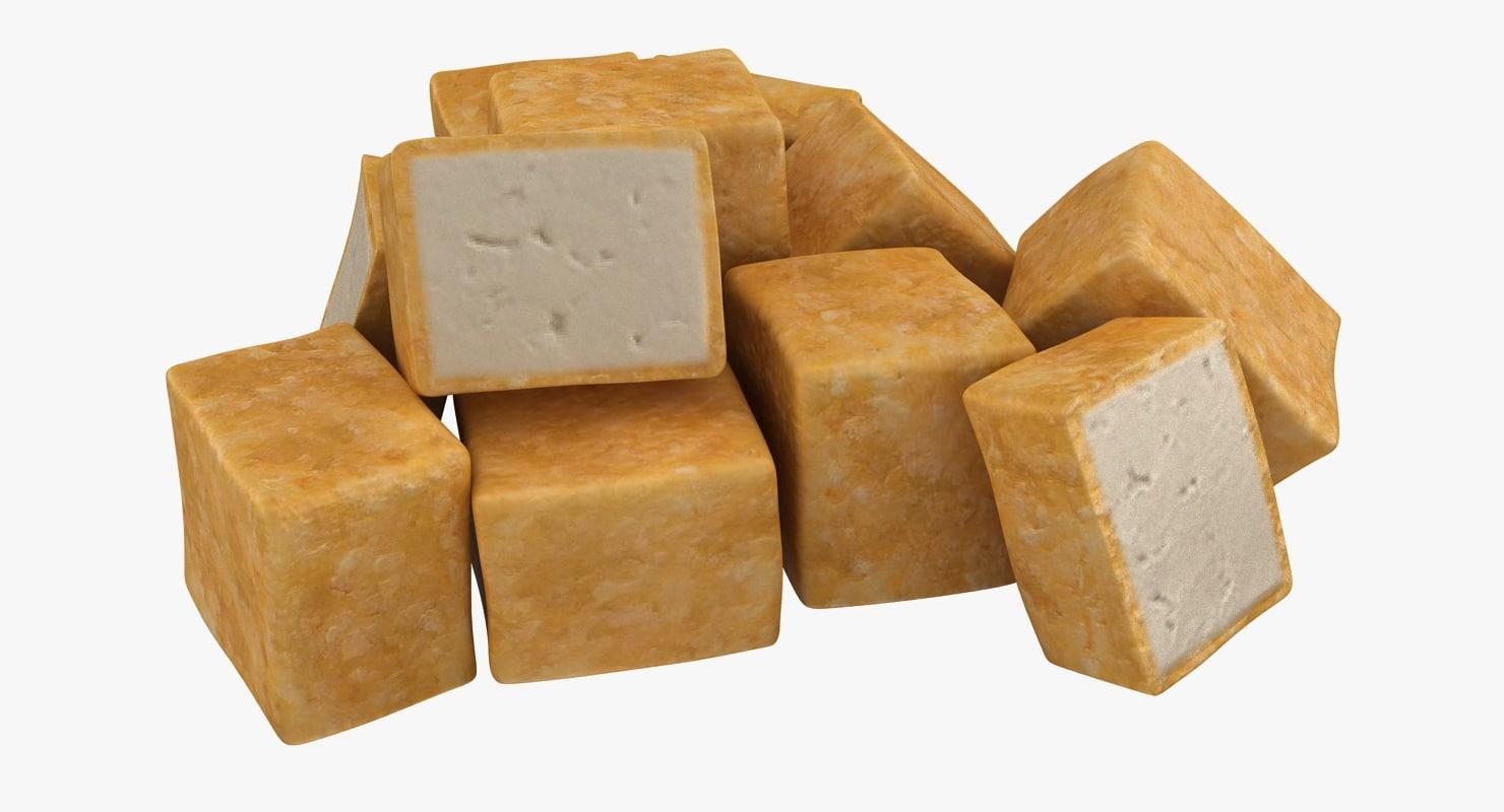 realistic fried tofu 02 3d 3ds