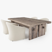 dining rustic table white 3d model