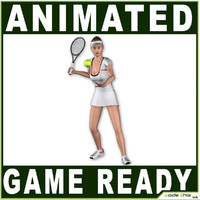 White Female Tennis Player 9840 tris