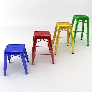metal stools 3d model