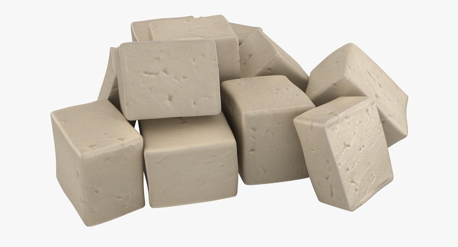3d model of realistic fresh tofu 02