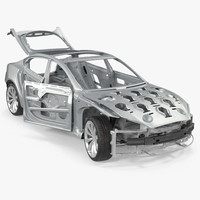 Tesla Model S Frame and Chassis Rigged