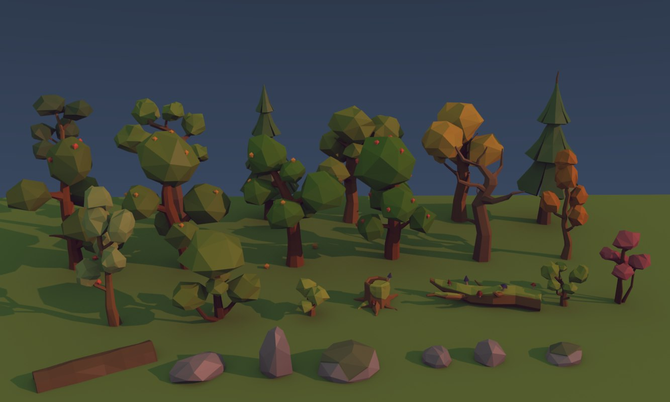3d model environment trees bushes