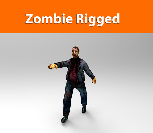 3d zombie male rigged model