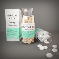 3d model bottle medical pill