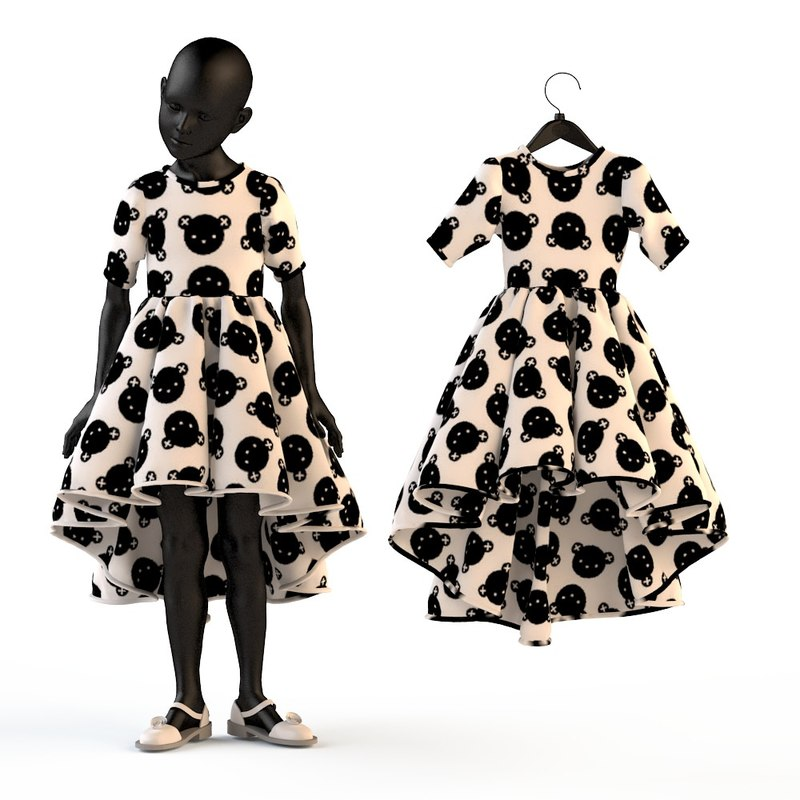 3d model of fashion baby child dressed