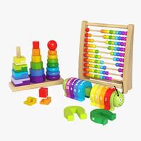 3d set wooden toys model
