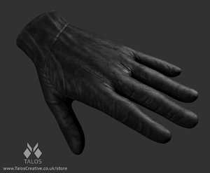 leather glove 3d model