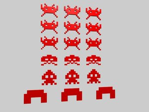 space invaders 3d c4d