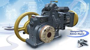3d obj elevator motor engine