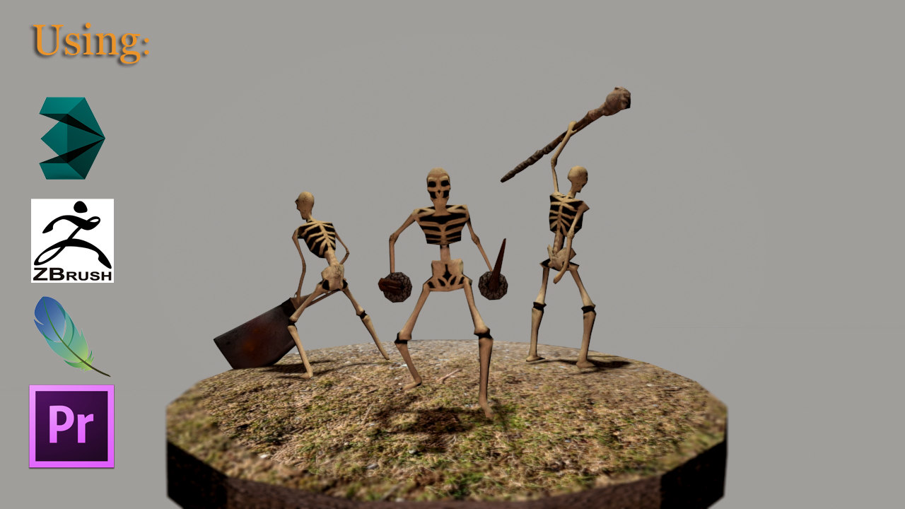 3ds skeletons weapons -